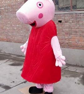 Roze Big met Rode Jurk Mascotte Kostuum