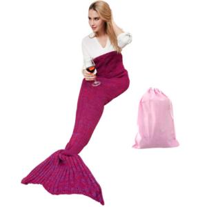 zeemeermin deken donker roze